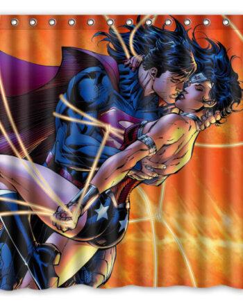 wonder woman superman kissing shower curtain