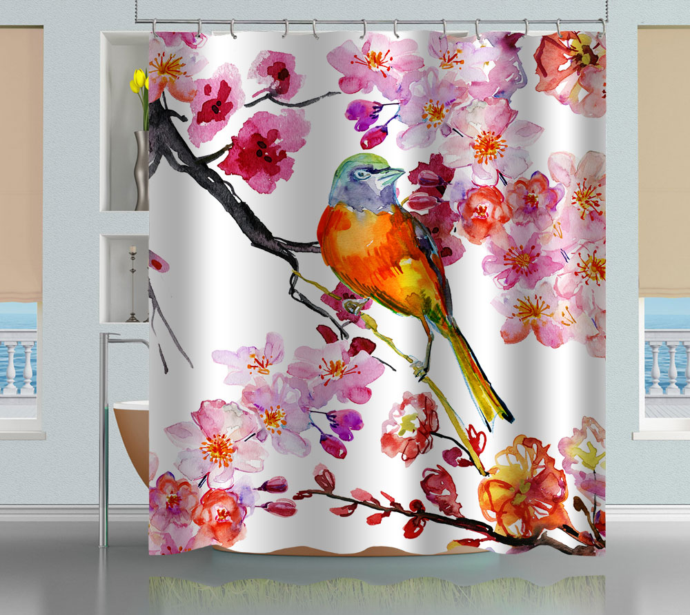 refreshing bird curtains collections flamingo curtain shower of flamingos collection