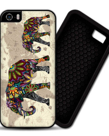 Floral Elephants World Map iPhone 4 / 4S PREMIUM CASE COVER