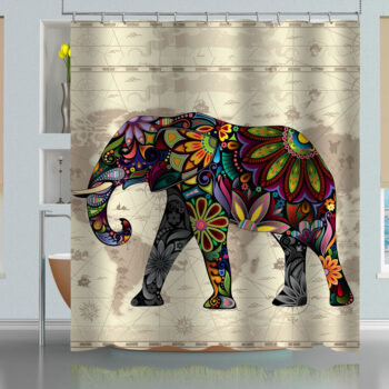 Floral Elephant World Map Pattern Shower Curtain