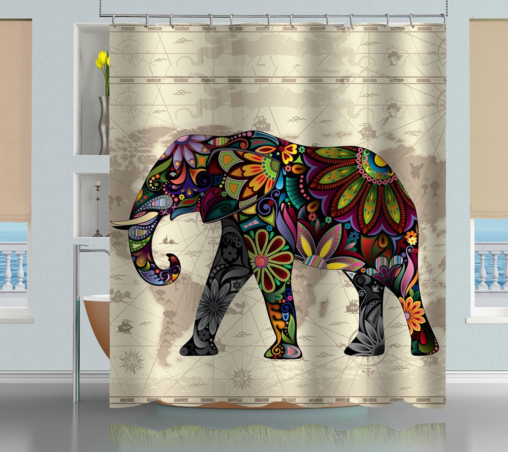 Floral Elephant World Map Shower Curtain Creativgoods