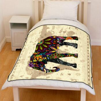 floral elephant world map fleece blanket
