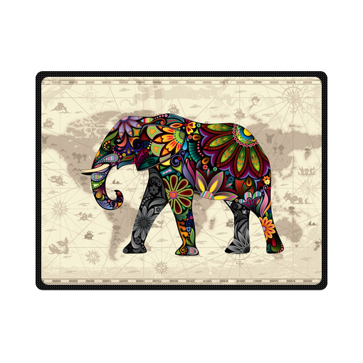 floral elephant world map fleece blanket