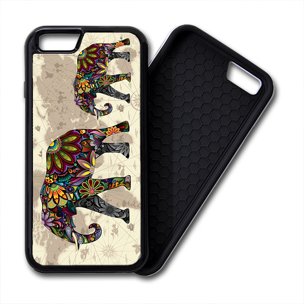 floral elephants world map iPhone PREMIUM CASE COVER
