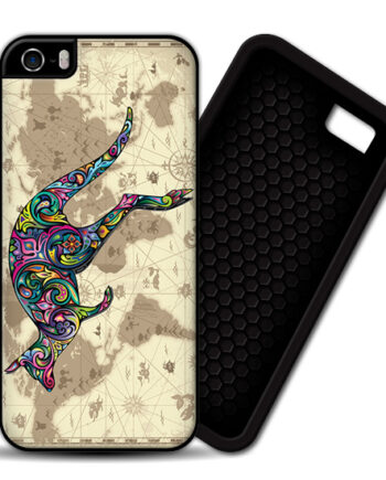 Floral Kangaroo World Map iPhone 5 / 5S PREMIUM CASE COVER