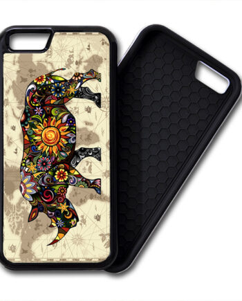 Floral Rhinoceros World Map iPhone 6 / 6 Plus PREMIUM CASE COVER