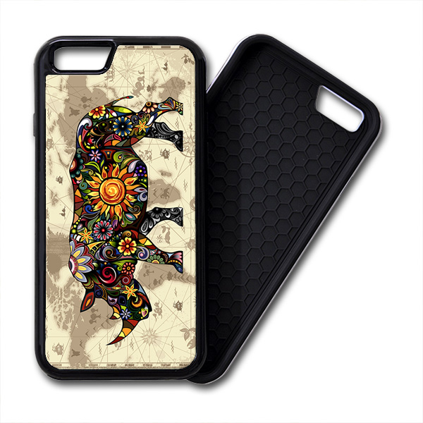 Floral Rhinoceros World Map iPhone PREMIUM CASE COVER