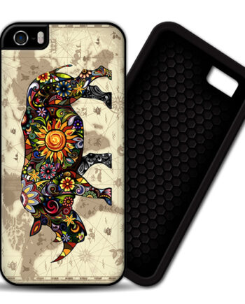 Floral Rhinoceros World Map iPhone 4 / 4S PREMIUM CASE COVER