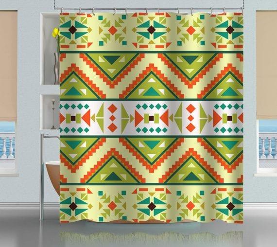 Mayan Aztec Tribal Pattern Shower Curtain
