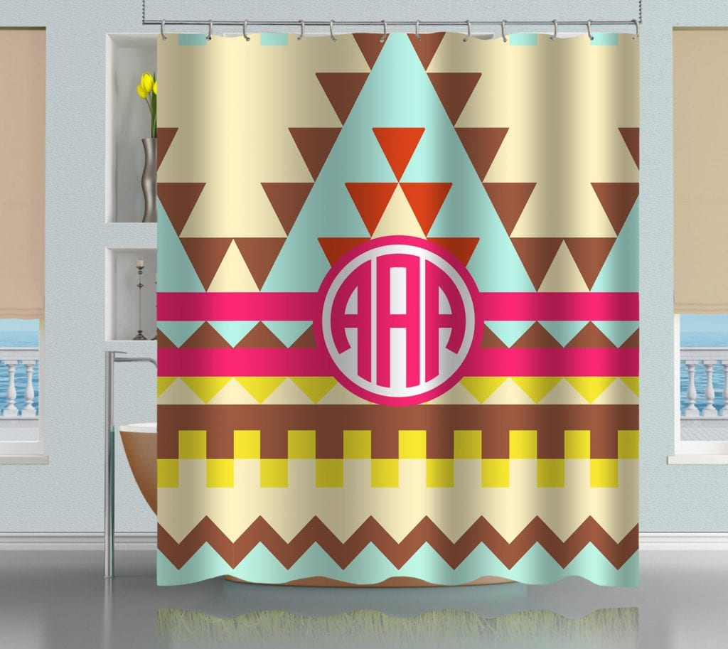 Monogrammed Aztec Tribal Pattern Shower Curtain Creativgoods