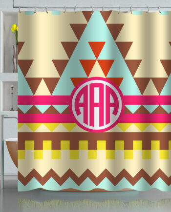 Monogrammed Aztec Tribal Pattern shower curtain