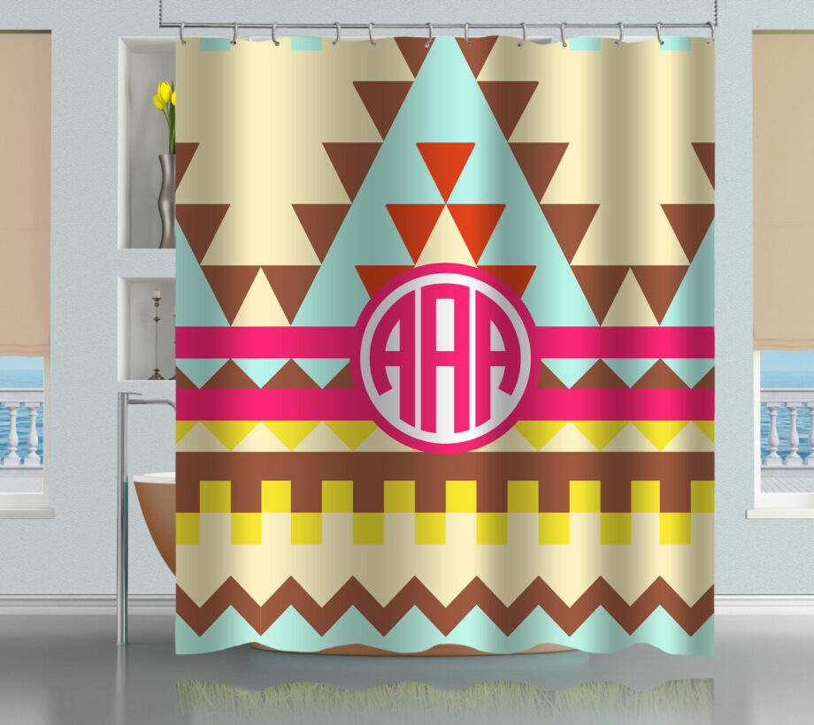 Monogrammed Aztec Tribal Pattern shower curtain