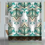 Oriental Floral Pattern Shower Curtain