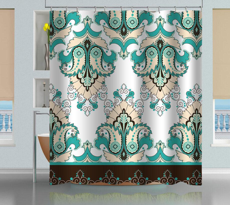 Oriental Floral Pattern Shower Curtain