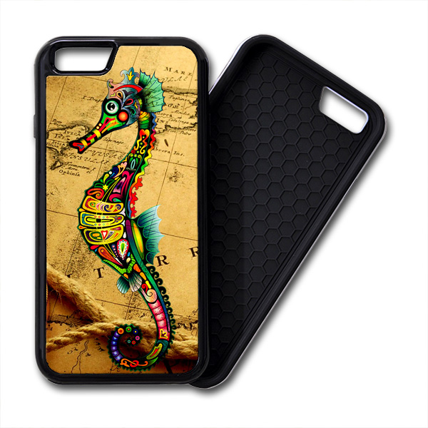 Seahorse Vintage Map iPhone PREMIUM CASE COVER
