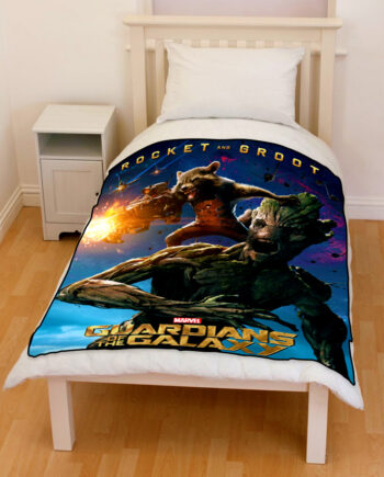 guardians of the galaxy rocket & groot bedding throw fleece blanket