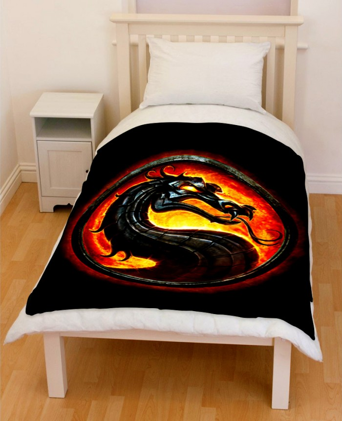 Mortal Kombat Logo Bedding Throw Fleece Blanket Creativgoods