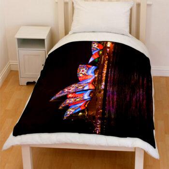 Sydney opera house night colorful lighting bedding throw fleece blanket