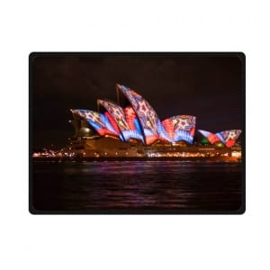 Sydney opera house night colorful lighting bedding throw fleece blanket