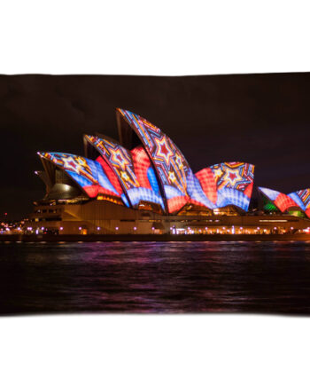 Sydney opera house night colorful pillow case
