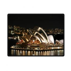 Sydney opera house night white lighting bedding throw fleece blanket