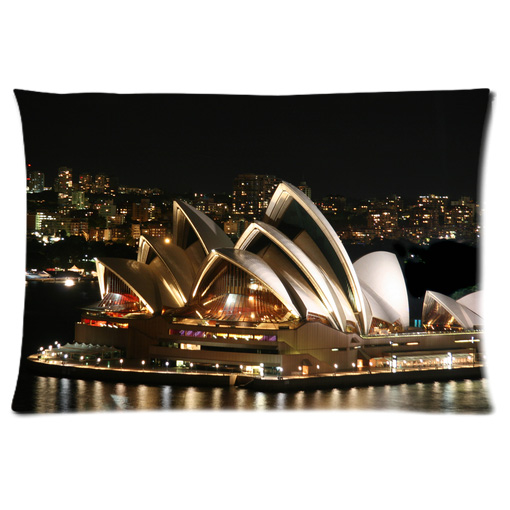 Sydney opera house night white lighting pillow case