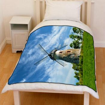 farm windmill blue sky bedding fleece blanket