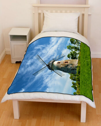farm windmill blue sky bedding fleece blanket