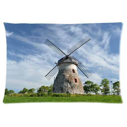 farm windmill blue sky pillow case