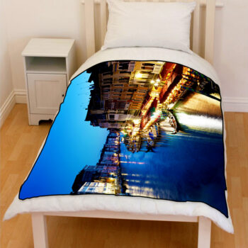 grand canal in venice italy sunset bedding throw fleece blanket