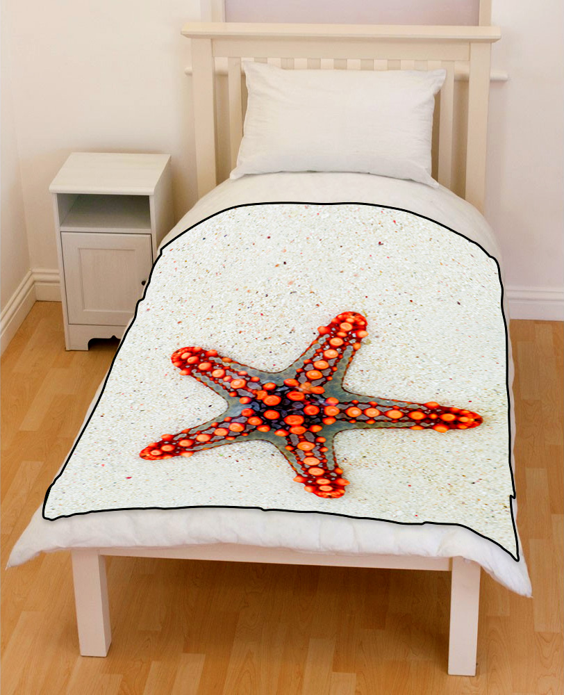 starfish on sand bedding throw fleece blanket