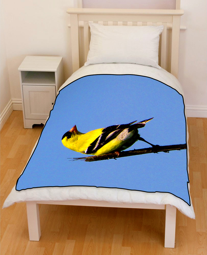 American Goldfinch bird bedding throw fleece blanket