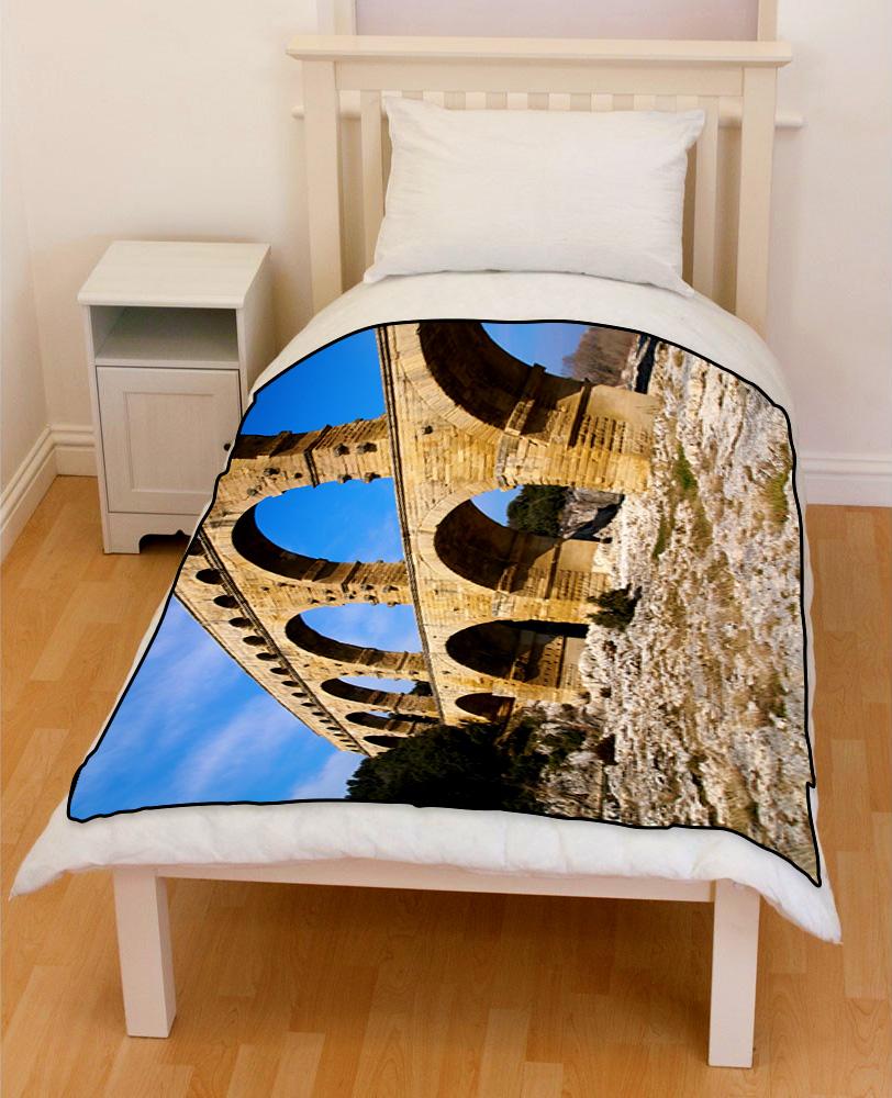 Ancient Roman Aqueduc Ruins Nimes france bedding throw fleece blanket