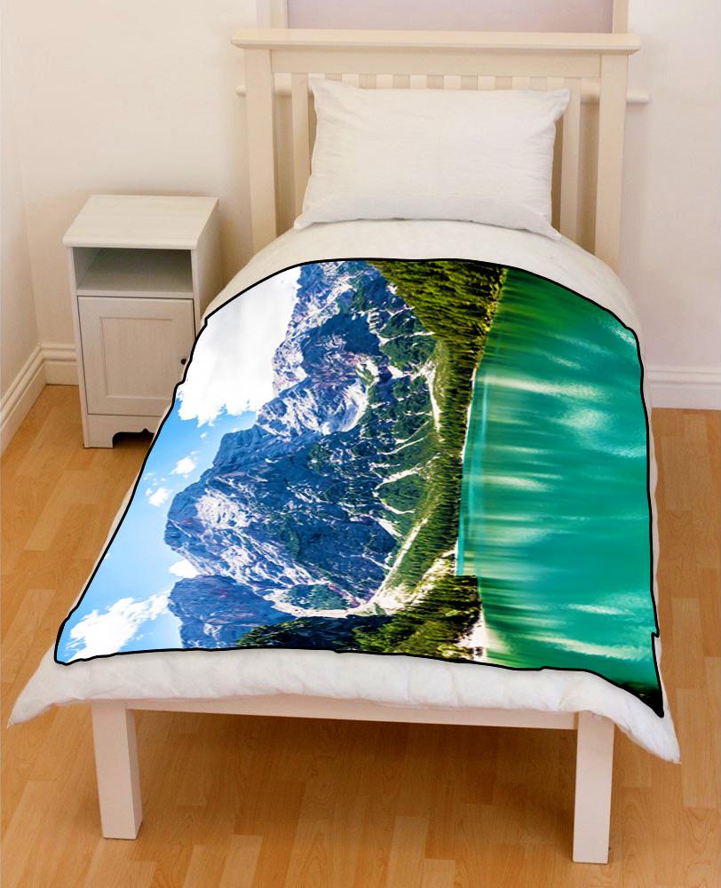 Austria Mountains Lake Alps bedding throw fleece blanket