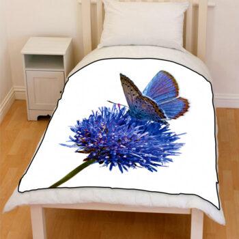 BLUE flower moth bedding throw fleece blanket