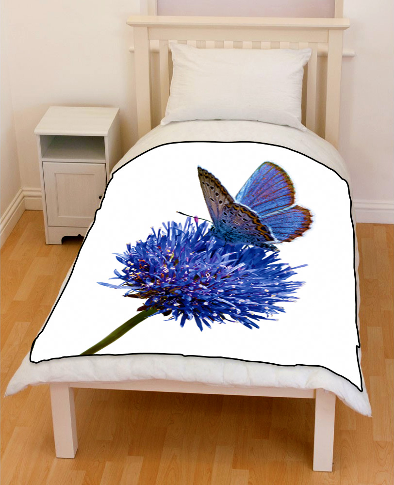 BLUE flower moth bedding throw fleece blanket