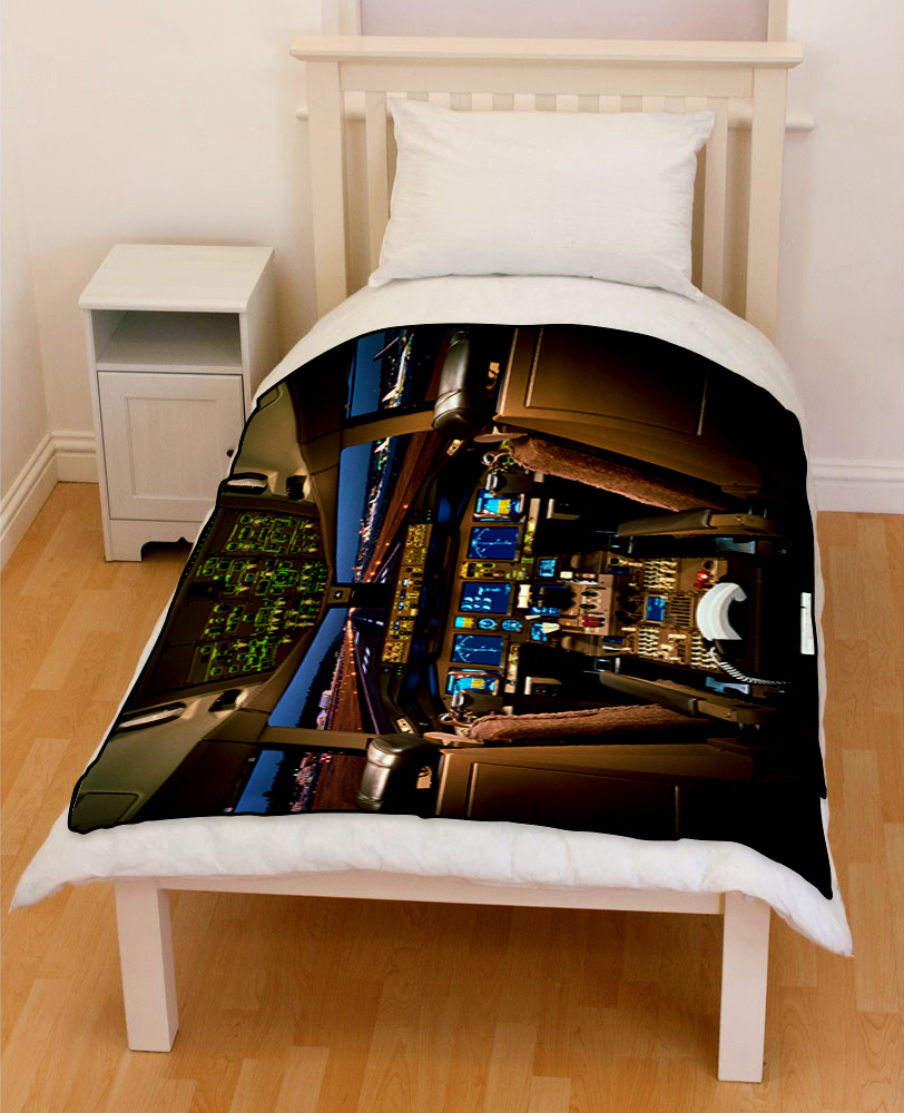 Boeing 777 Airplane Cockpit bedding throw fleece blanket