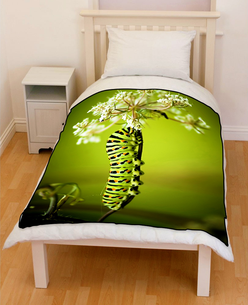 Colorful Caterpillar bedding throw fleece blanket