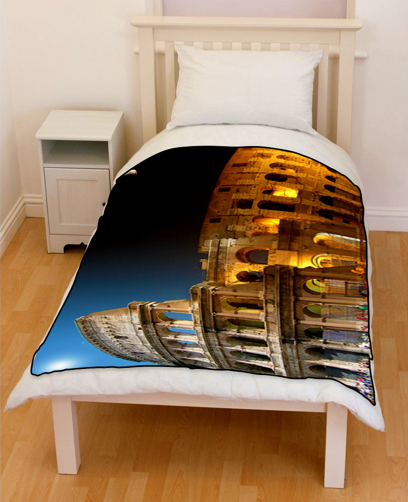 Colosseum in Rome Italy day night bedding throw fleece blanket