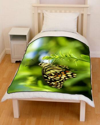 Butterfly Papilio demoleus bedding throw fleece blanket