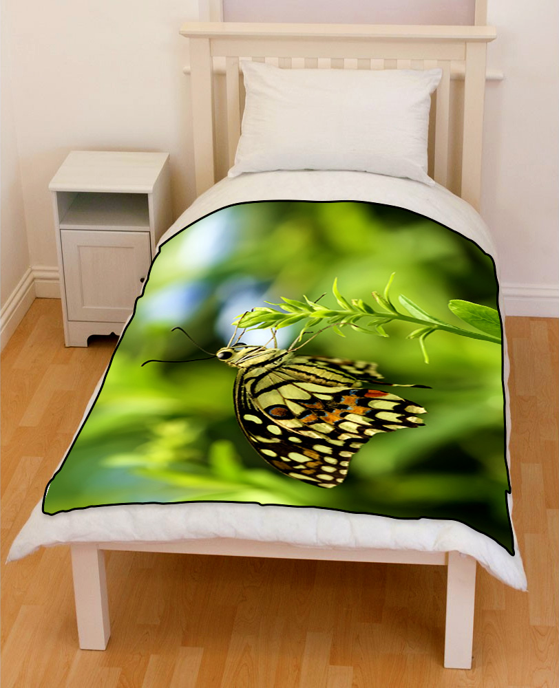 Butterfly Papilio demoleus bedding throw fleece blanket