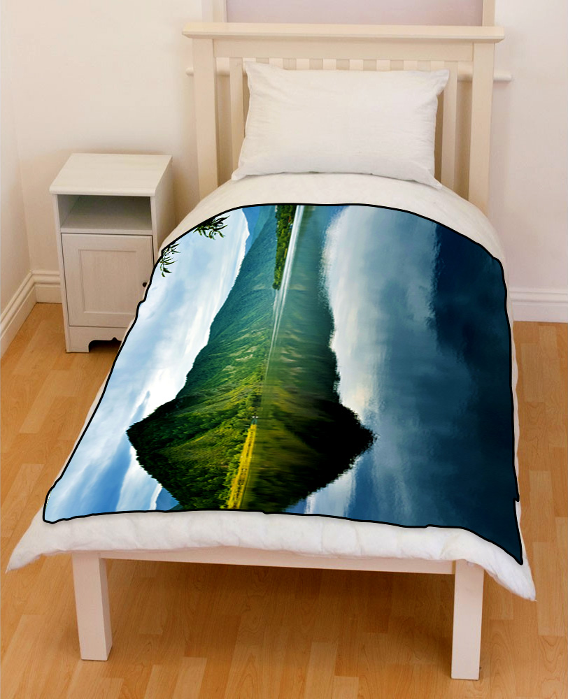 Mountain lake summer bedding throw fleece blanket