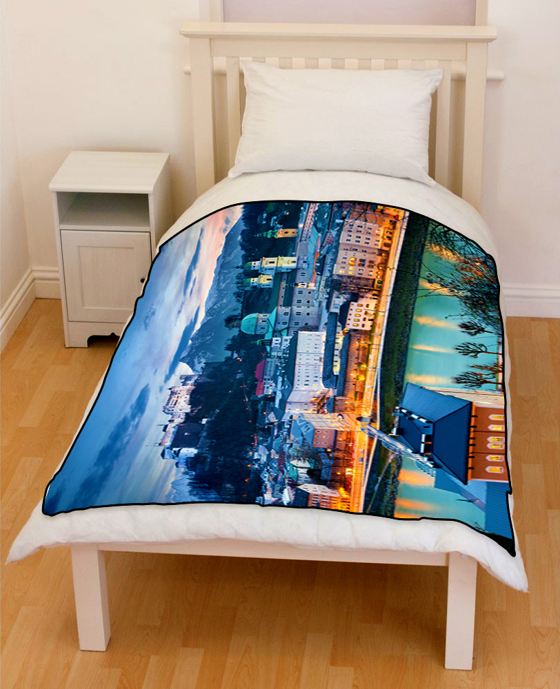 Salzburg city bedding throw fleece blanket