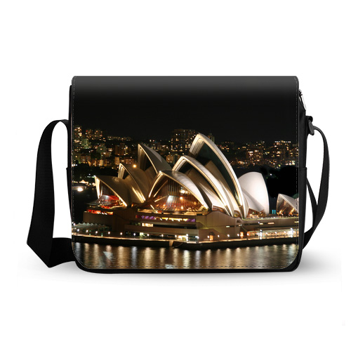 Sydney opera house night messenger bag