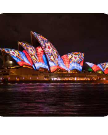 Sydney opera house night colorful lighting mousepad