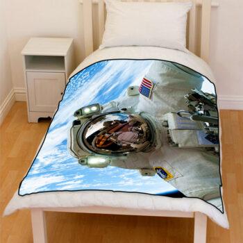 astronaut in space bedding throw fleece blanket
