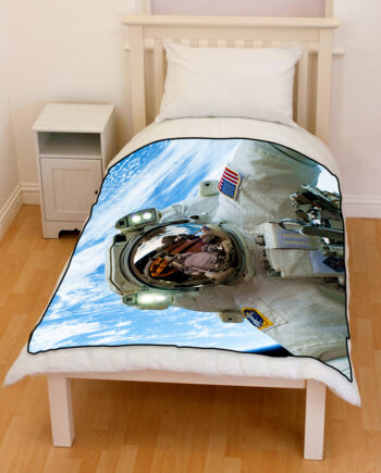 astronaut in space bedding throw fleece blanket