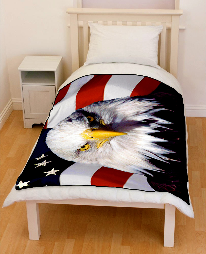 bald eagle american bedding throw fleece blanket