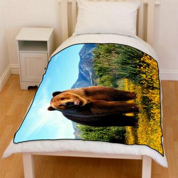 bear grizzly bedding throw fleece blanket