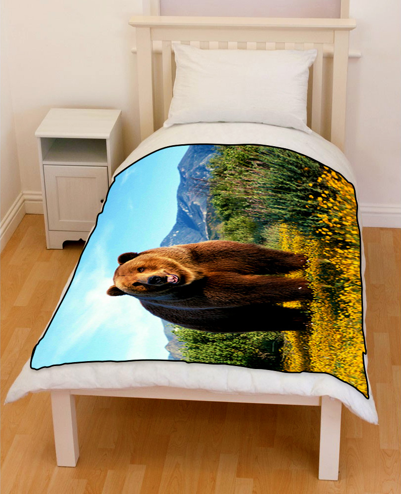 bear grizzly bedding throw fleece blanket